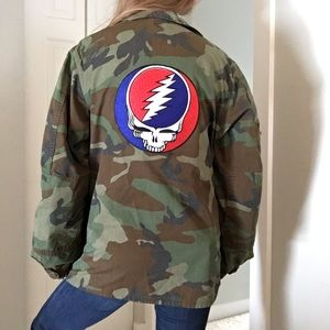 Other - Army Jacket w/ Custom Sewn Grateful Dead Patches